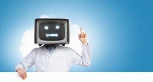 Doktor mit Fernsehen anstelle des Kopfes Gemischte Medien stockfotografie