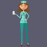 Doktor mit Medizin tablets flache Karikaturillustration des Vektors Stockbild