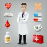 Doktor mit medizinischem Gegenstand Auch im corel abgehobenen Betrag Lizenzfreies Stockfoto