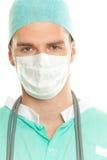 Doktor mit Schablone Stockfotos