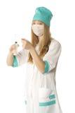 Doktor mit Spritze Stockfoto