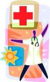 Doktor och ett Röda kortecken Stock Illustrationer