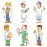 Doktor och medicinsk persontecknad filmuppsättning Royaltyfria Bilder
