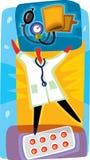 Doktor och pills som behandlar blodtryck Royaltyfri Illustrationer