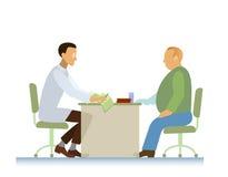Doktor och tålmodig ECG-övervikt Arkivfoto