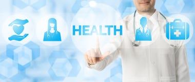 Doktor Points på HÄLSA med medicinska symboler fotografering för bildbyråer