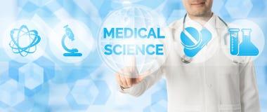 Doktor Points p? MEDICINSK VETENSKAP med den medicinska symbolen royaltyfri fotografi