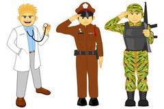 Doktor, polisen och militär karriär Royaltyfri Foto
