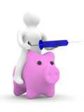 Doktor setzt Einspritzung zum Schwein. Schweingrippe Stockbild