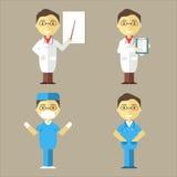 Doktor, sjuksköterska och kirurg vektor illustrationer