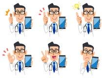 Doktor Smartphone Expressions och gestuppsättning vektor illustrationer