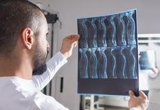 Doktor som analyserar röntgenstrålebild i konsulterande rum royaltyfri fotografi