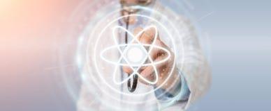Doktor som använder den digitala tolkningen för molekylmanöverenhet 3D Royaltyfri Bild