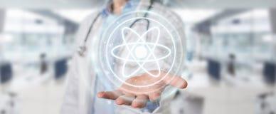 Doktor som använder den digitala tolkningen för molekylmanöverenhet 3D Royaltyfri Fotografi