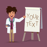 Doktor som framlägger något på paperboard Royaltyfri Bild