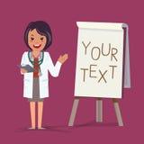 Doktor som framlägger något på paperboard - illustration Royaltyfria Foton
