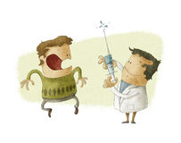 Doktor som ger en injektion Stock Illustrationer