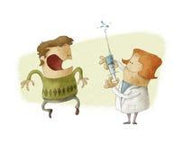 Doktor som ger en injektion Royaltyfri Illustrationer
