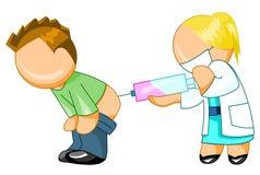 doktor som ger injektionmannen till Stock Illustrationer