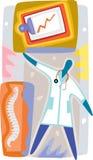 Doktor som kontrollerar på en tålmodigs hälsoregister Stock Illustrationer