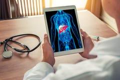 Doktor som rymmer en digital minnestavla med röntgenstrålen av kroppskelettet med lever Stetoskop och injektionsspruta på skrivbo arkivfoton