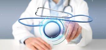 Doktor som rymmer en läkarundersökningstetoskop för tolkning 3d Fotografering för Bildbyråer