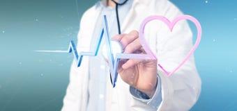 Doktor som rymmer en medicinsk hjärtakurva för tolkning 3d Royaltyfri Bild