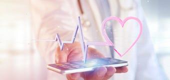 Doktor som rymmer en medicinsk hjärtakurva för tolkning 3d Royaltyfri Fotografi