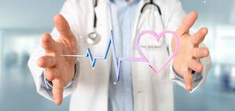 Doktor som rymmer en medicinsk hjärtakurva för tolkning 3d Fotografering för Bildbyråer