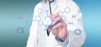 Doktor som rymmer en molekylstruktur för tolkning 3d isolerad på ett b Arkivfoton