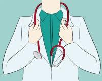 Doktor som rymmer en stetoskop Arkivfoto