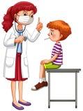 Doktor som undersöker den lilla sjuka pojken vektor illustrationer