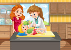 Doktor som upp ser pojken i klinik royaltyfri illustrationer