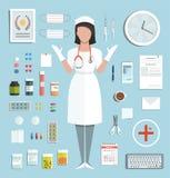 Doktor Standing Ready, zum mit Pillen zu arbeiten Stockfotos