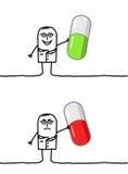 Doktor u. gute oder falsche Medizin Stockbild