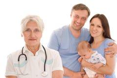 Doktor und Familie Stockfotografie