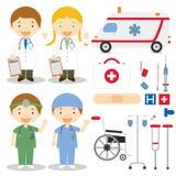 Doktor- und Krankenschwestercharaktervektorillustration stock abbildung