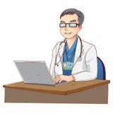 Doktor- und Laptopvektor Lizenzfreies Stockfoto