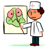 Doktor und Plakat mit Mikrobe Lizenzfreies Stockbild