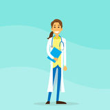 Doktor Woman Cartoon Person Hold Clipboard vektor illustrationer
