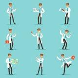 Doktor Work Process Set av släkta platser för sjukhus med det unga tecknad filmteckenet för medicinsk arbetare stock illustrationer