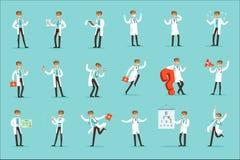 Doktor Work Process Set av släkta platser för sjukhus med det unga tecknad filmteckenet för medicinsk arbetare royaltyfri illustrationer