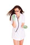 Doktor y píldoras aislados en el fondo blanco Imágenes de archivo libres de regalías