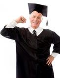 Doktorand- hög man visa av hans muskler Fotografering för Bildbyråer