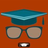 Doktorand- hatt och exponeringsglas med diopters arkivfoton