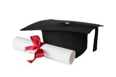 Doktorand- hatt- och papperssnirkel Arkivbilder