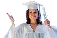doktorand- lyckligt för diplom Fotografering för Bildbyråer