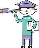 Doktorand- se till och med teleskop Royaltyfri Illustrationer