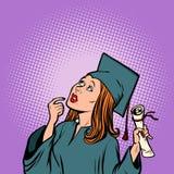 Doktorand- tanke för flicka, studenten av högskolan och universitet Royaltyfria Foton