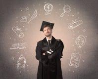 doktorand- tonåring med hand drog skolasymboler Arkivbilder